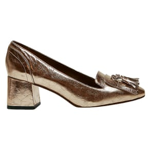 gold tasseled heeled loafers Next