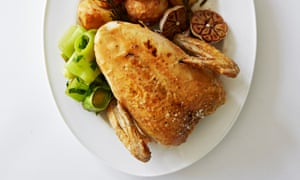 Roasted chicken crown with garlic and rosemary.