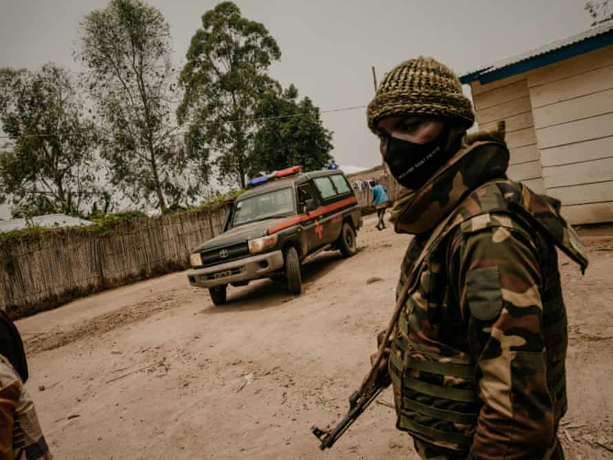 A military ambulance carrying the bodies of three FARDC soldiers killed in a morning ambush