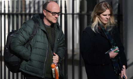 Cummings arriving with Cleo Watson at 10 Downing Street on 14 April.