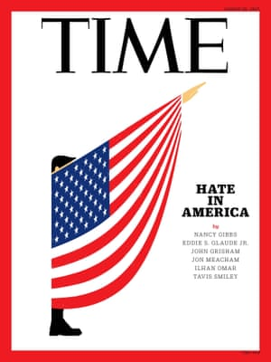 "Edel Rodriguez for Time Magazine""Time contacted me to create a cover about Hate in America, pegged to the news in Charlottesville. I sent a dozen different ideas and sketches to the art director and editor and they felt this got their point across. Trump's trying to redefine the meaning of words, insult the fine work that journalists do, even question the purpose of branches of government. Defending Nazis and white supremacists is no laughing matter, so the word ""satire"" doesn't quite fit what I do; I try to bring into sharp focus someone that, in my opinion, is very dangerous."""