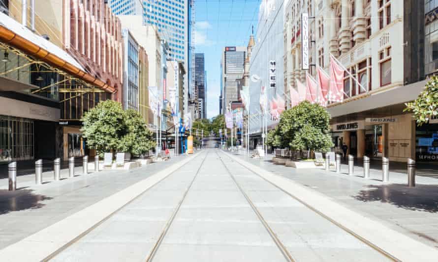Bourke Street in Melbourne during the coronavirus lockdown