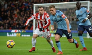 Xherdan Shaqiri of Stoke City and Matt Ritchie of Newcastle United.