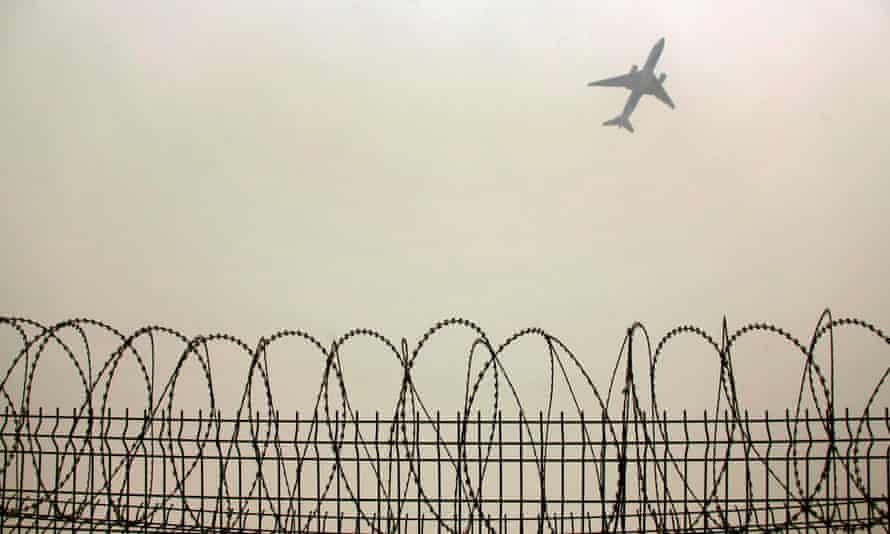 Plane in Beijing air pollution
