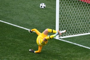 England goalkeeper Jordan Pickford watches a Panama shot whistle wide.