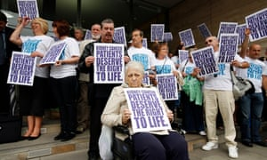 Campaigners protest outside the National Institute for Health and Care Excellence