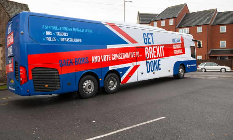 Conservative campaign bus with Get Brexit Done painted on it
