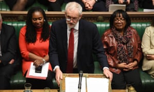 Jeremy Corbyn speaking in parliament, flanked by Dawn Butler and Diane Abbott.