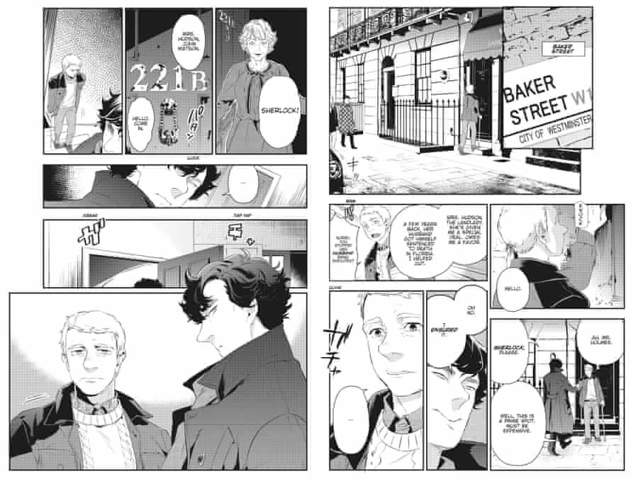 A spread from inside Sherlock, the manga comic. An adaptation of the TV show starring Benedict Cumberbatch.