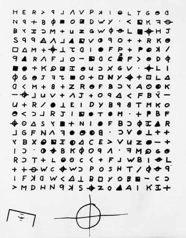 Aa cryptogram sent to the San Francisco Chronicle in 1969 by the Zodiac Killer.