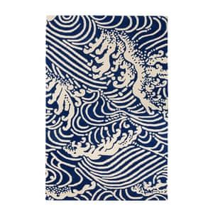 patterned rug blue and cream