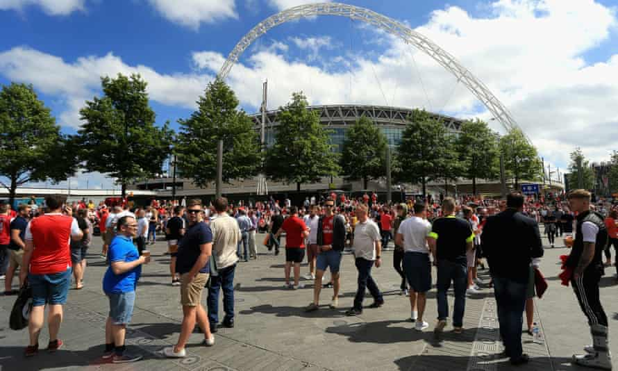 Fans outside Wembley Stadium in north London before the 2017 Carabao Cup final
