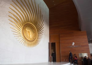 Delegates filter into the main hall at the African Union's headquarters in Addis Ababa for a two-day summit