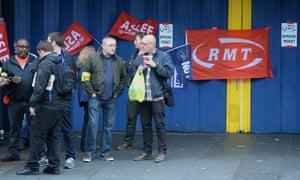 RMT picket at Brixton station, London