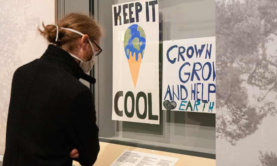 """The placard created by a student featuring a melting ice cream, which is to be taken down from the Science Museum's """"Our Future Planet"""" exhibition."""