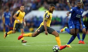 Arsenal's Theo Walcott is caught offside.