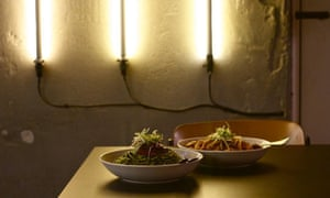 Two pasta dishes in bowls on a table at Francoforte Spaghetti Bar, Perth, Western Australia.