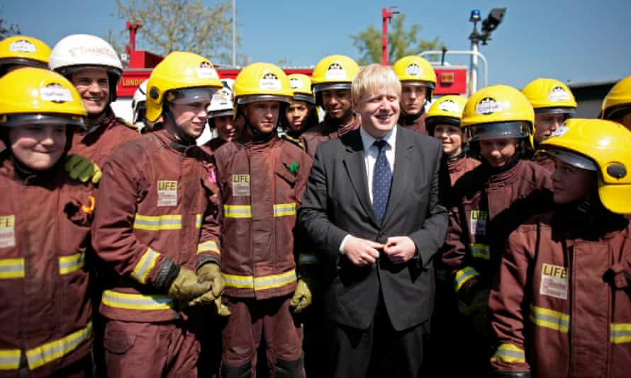 Boris Johnson at a fire safety training day in Essex in his first week as London mayor in May 2008.
