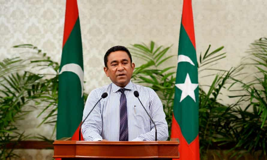 Photograph taken on 25 October 2015 of the president of the Maldives, Abdulla Yameen, who has declared a state of emergency.