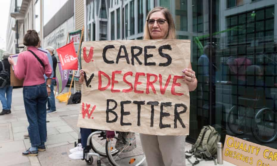 Campaigners and social care workers demonstrate for improved pay and conditions, London, September 2021
