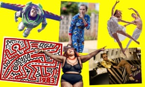 Clockwise from top left: Toy Story 4, Killing Eve, Matthew Bourne's Romeo and Juliet, Taron Egerton as Elton John in Rocketman, Lizzo and Keith Haring at Tate Liverpool.