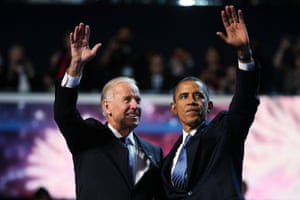 President Barack Obama and Vice-president Joe Biden accept the Democratic nomination on the final day of the national convention on 6 September 2012.