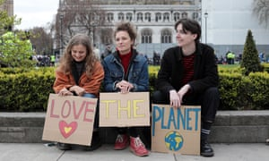 Young climate change protesters make their point in central London.