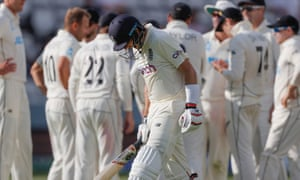 Joe Root shouts in anger after his dismissal during a tedious day of cricket.