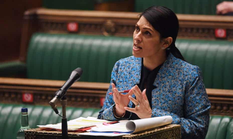 Home Secretary Priti Patel speaks during the debate on the second reading of the government's police, crime, sentencing and courts bill, on 15 March.