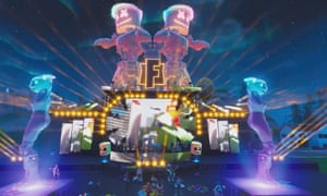 Marshmello holds a Fortnite concert at Pleasant Park.