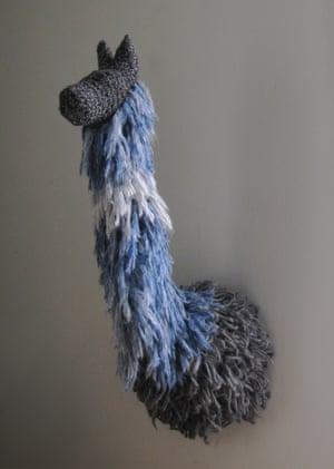 Alpaca wall trophy bust  made by Rachel Denny.