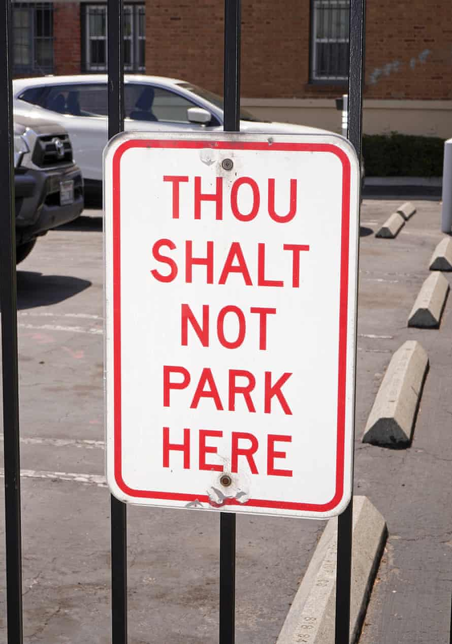 A sign in the parking lot of the Self-Realization Fellowship's complex in Hollywood.