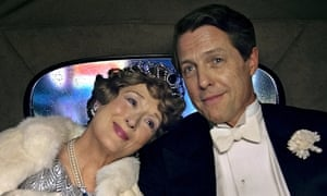 Meryl Streep as Florence Foster Jenkins with Hugh Grant as her manager and partner, St Clair Bayfield