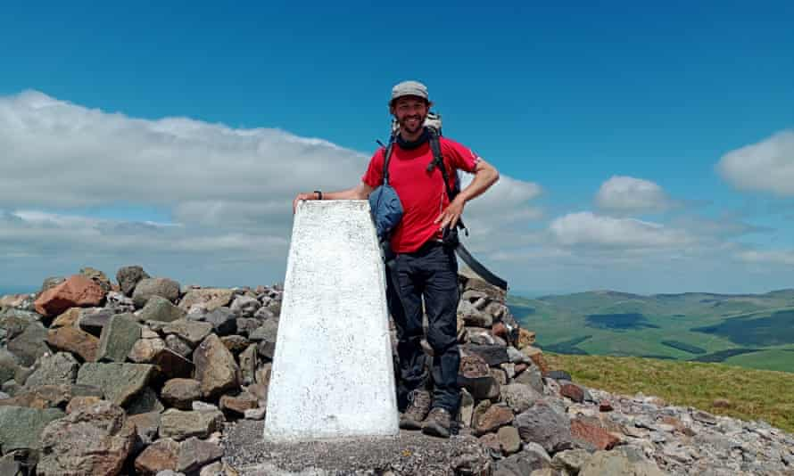 The author on the summit of Windy Gyle, in the Cheviots.