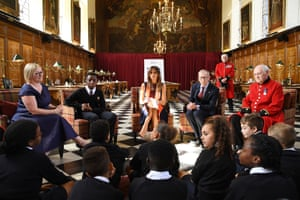 Melania meets schoolchildren and Chelsea pensioners at the Royal Hospital Chelsea, accompanied by Philip May