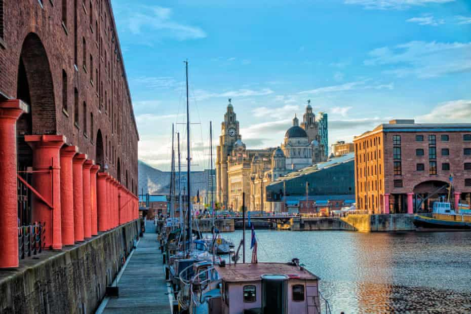 Liverpool's Albert Dock and a view of the Royal Liver building, Cunard building and the Port of Liverpool building.