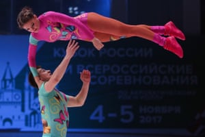 A couple compete in the world championships of the rock'n'roll formation in Kazan
