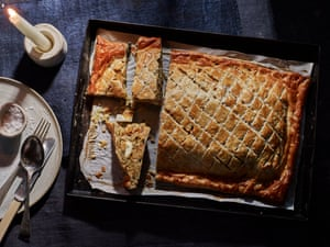 A puff-pastry veggie pie with rice, egg, onions and root veg, imported to France by Escoffier.