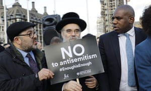 David Lammy (right) outside parliament with members of the Jewish community at Monday's protest against antisemitism