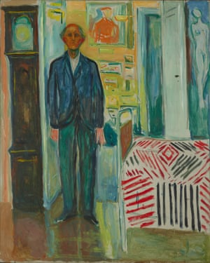 Munch, Self Portrait between Clock and Bed