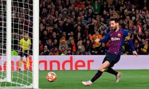 Barcelona's Argentinian forward Lionel Messi scores a goal