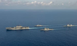 Australian and US ships conduct exercises in the South China Sea