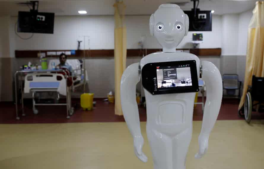 Robots such as Mitra are being used to reduce risk of infection for medical staff.