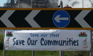 Banner near Tata Steel's plant at Port Talbot, after the company announcement to pull out of the UK.