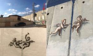 Evolution of Cherub Wall by Banksy in Bethlehem.