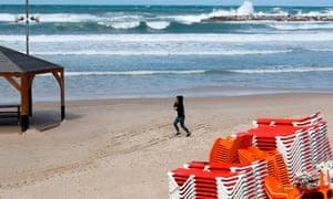 A near-deserted beach in Tel Aviv
