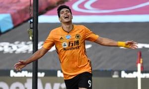 Wolverhampton Wanderers' Raul Jimenez celebrates scoring their first goa.
