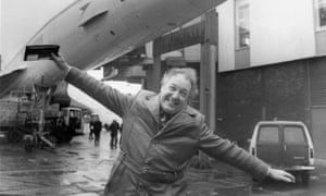Freddie Laker at Heathrow airport, 1978.