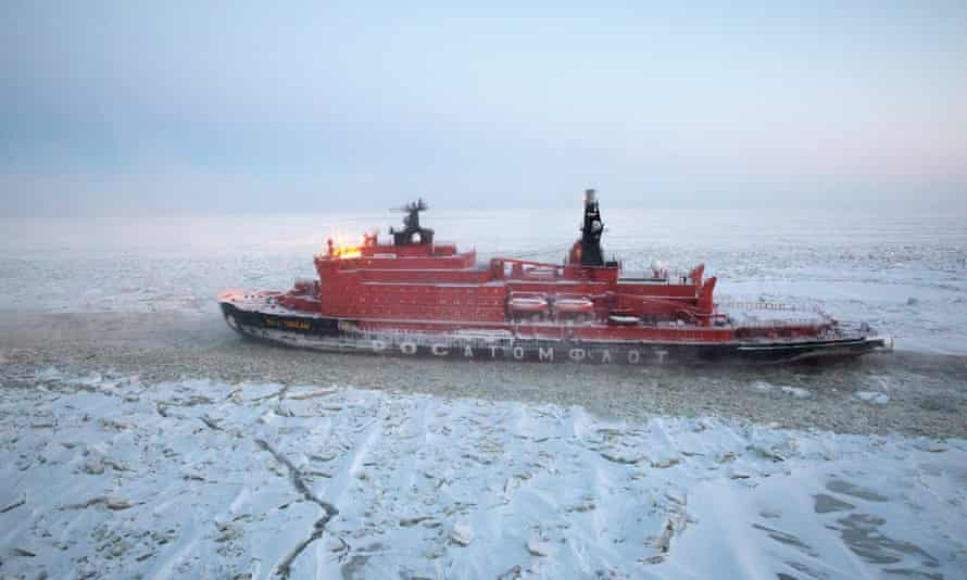 A Russian nuclear-powered icebreaker makes its way through the frozen waters of the Gulf of Ob, the Kara Sea. Russia has 40 icebreakers; the US has two.