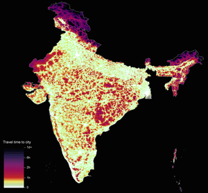 Graphic showing travel time to cities in India to assess inequalities in accessibility.